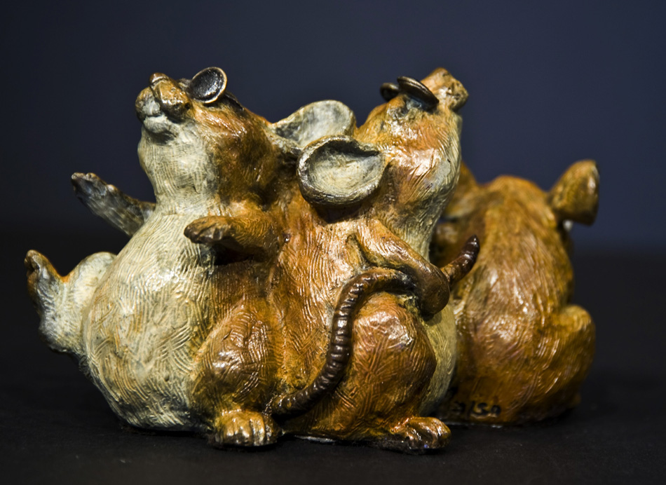 Mice Bronze Artist Glasses three Story Book Bronze Sculpture Art Gallery whimsical