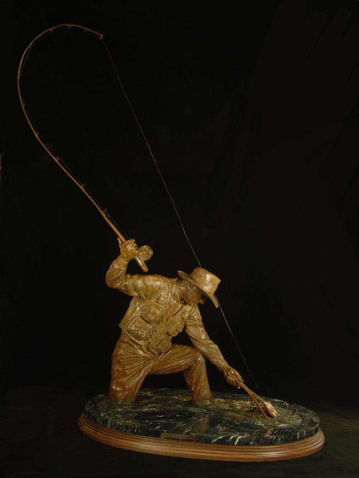 Fishing Bronze Sculpture Art Fly Fish Gallery Design