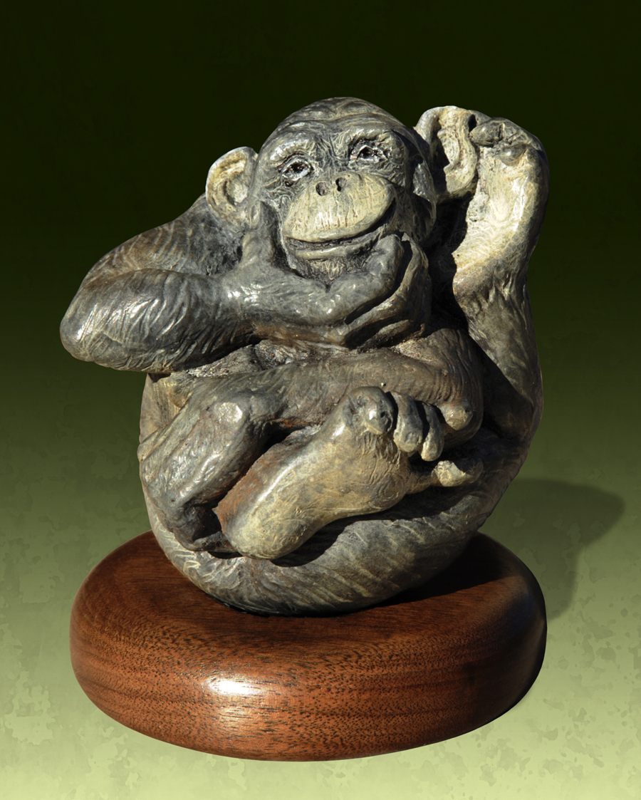 Monkey Bronze Art Sculpture Animal Wrappers Christine Knapp