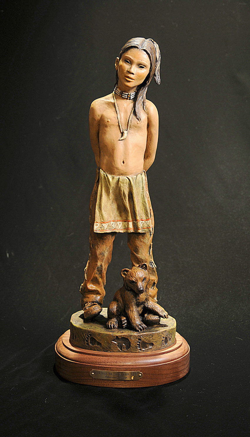 Native American Bronze Sculpture Art Bear Cub Boy