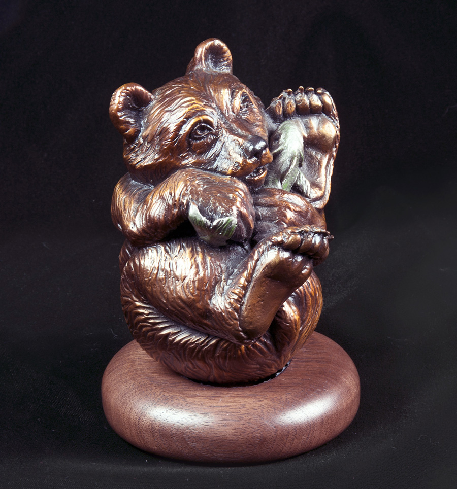 Bear Sculpture Made Bronze Editions Animal Wrappers Christine Knapp