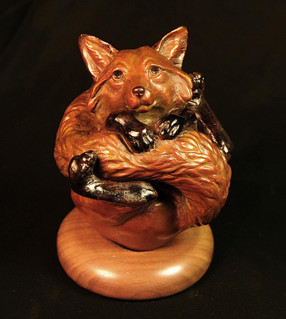 Fox Animal Wrapper Bronze Art Animal Wrappers Christine Knapp