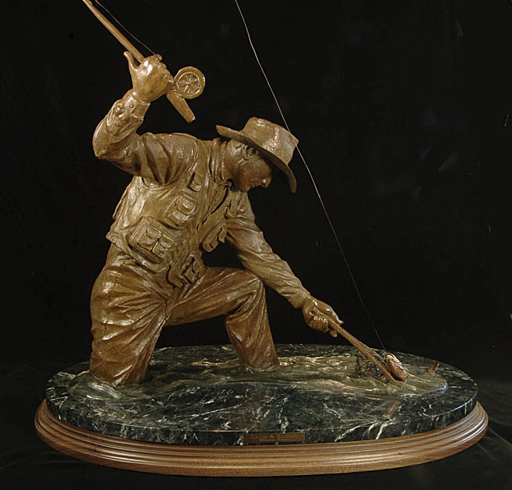 Sporting Catch and Release Bronze Sculpture Chrisitne Knapp