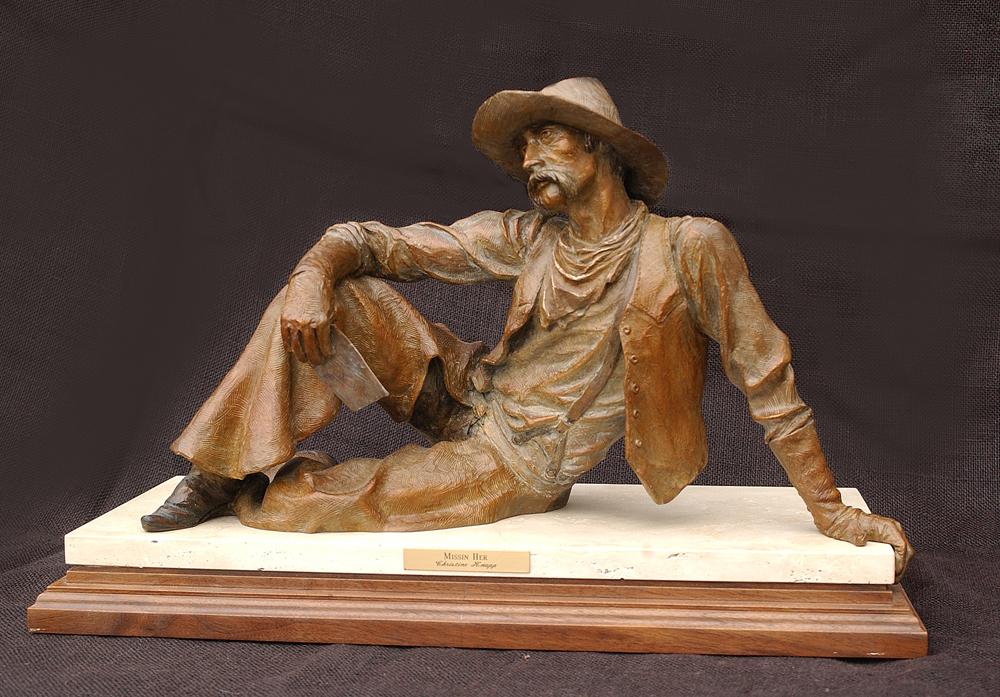 Missin Her Bronze Sculpture Western Chrisitne Art Knapp Cowboy