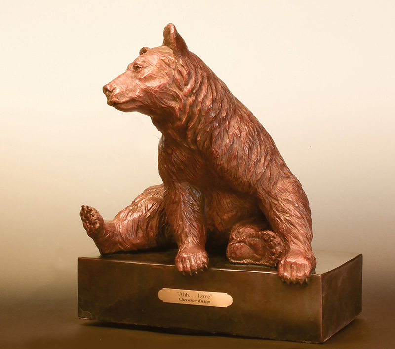 Black bear sculpture-Christine Knapp bronze -Ahh Love