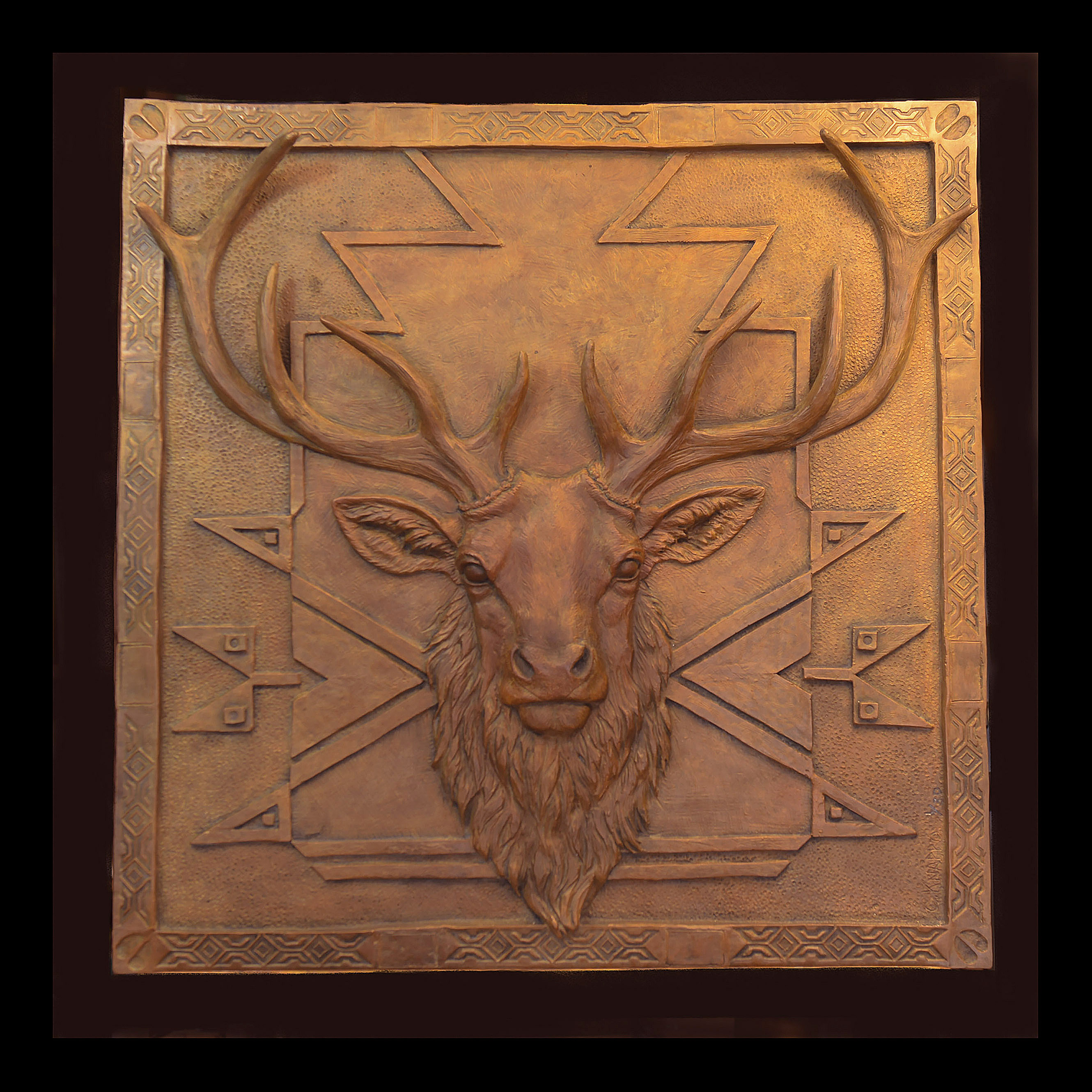 elk bas relief-christine knapp -mountain majesty